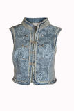 Gilet bleu de denim Photos libres de droits