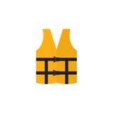 Gilet de vie orange d'isolement sur un fond blanc Icône de gilet de sauvetage Gilet de sauvetage dans le style plat Images libres de droits