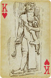 Gilgamesh. Playing card with the drawn figure: Gilgamesh - the King of Uruk. Description: drawing consists of at least of two layers, a colored background in the stock illustration