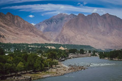 Gilgit town by the Gilgit river Stock Image