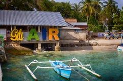 Gili空气海岛的口岸  印度尼西亚印度洋 的treadled 库存照片
