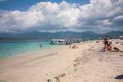 Gili空气,印度尼西亚, 2016年8月:在Gili空气的海滩 免版税图库摄影