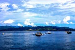 Gili island, indonesia. Beautiful sea of Gili Meno, with view of Gili Island. Indonesia Royalty Free Stock Images