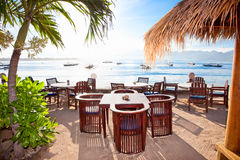 Gili island in Trawangan, Indonesia. Beautiful sunrise in rest pavilion, Gili island, Trawangan, Indonesia Stock Photos