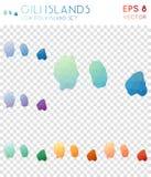 Gili Islands geometric polygonal maps, mosaic. Gili Islands geometric polygonal maps, mosaic style island collection. Pleasing low poly style, modern design Stock Photos