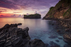 The gili selang pegat when sunrise moment with amazing sky and long exposure water II Royalty Free Stock Photography
