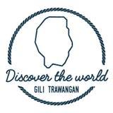 Gili Trawangan Map Outline Le vintage découvrent Photo libre de droits