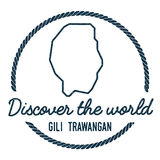 Gili Trawangan Map Outline. Vintage Discover the. Royalty Free Stock Photo