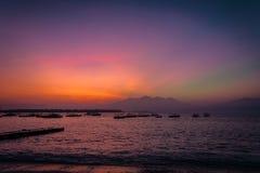 Gili trawangan sunrise. View from gili trawangan indonesia at lombok vulcano sunrise Royalty Free Stock Image