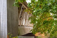 Oregon`s Gilkey Covered Bridge view along side stock photo