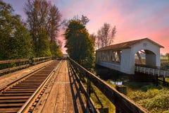 Gilkey Covered Bridge over Thomas Creek. In Scio Oregon during sunset Royalty Free Stock Photo