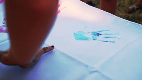 Gill make a trace at flag by hand stock video