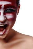 Gillende boze Vrouw met Make-up stock afbeeldingen