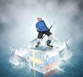 Gillende hockeyspeler op ijsblokjes: Zweden versus het spel van Slovenië QuaterFinal. Royalty-vrije Stock Afbeeldingen