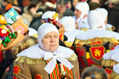 Gilles De Binche in traditional costumes Royalty Free Stock Photography