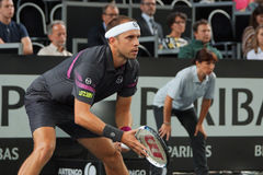 Gilles Muller (LUX). METZ, FRANCE - SEPTEMBER 23, 2015: Gilles Muller (LUX) during his match against Fernando Verdasco (ESP) at the Moselle Open in Metz, France Stock Image