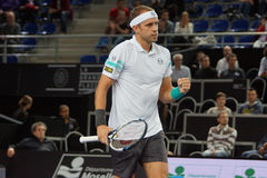 Gilles Muller (LUX). METZ, FRANCE - SEPTEMBER 25, 2015: Gilles Muller (LUX) during his match against Gilles Simon (FRA) at the Moselle Open in Metz, France, on Royalty Free Stock Photo