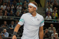 Gilles Muller (LUX). METZ, FRANCE - SEPTEMBER 25, 2015: Gilles Muller (LUX) during his match against Gilles Simon (FRA) at the Moselle Open in Metz, France, on Royalty Free Stock Image