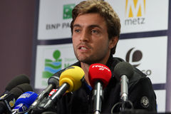 Gilles Simon (FRA). METZ, FRANCE - SEPTEMBER 22, 2015: Gilles Simon (FRA) talking to the media during his press conference at the Moselle Open in Metz, France Stock Photo