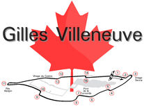 Gilles Villeneuve Circuit. Illustration of Gilles Villeneuve Circuit - Montreal used for Grand Prix of Canada F1 Stock Photo