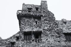 Gillette Castle State Park East Haddam Connecticut. The landmark Gillette Castle exterior in black and white in East Haddam Connecticut stock photography