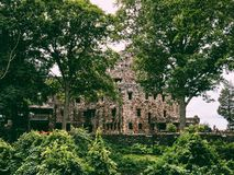 Gillette Castle exterior. Gillette Castle State Park straddles the towns of East Haddam and Lyme, Connecticut in the United States, sitting high above the royalty free stock images