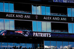 Gillette Stadium Sponsor Boards, Foxboro, MA Stock Photos