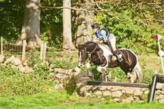 Gillian Fea riding Gucci at Scotsburn. Gillian Fea riding Gucci  in cross country event at Scotsburn Farm during a meeting of the Ross-shire branch of the Pony Stock Photos