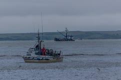 Gillnetter在布里斯托尔海湾的设置齿轮红鲑鱼的 免版税库存照片