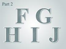 Giloszuje listy F G H Ja J Fotografia Stock