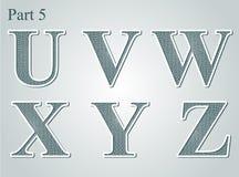 Giloszuje listy U V W, Y Z X Obraz Stock