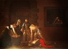 Gilotynowanie Saint John baptysta Caravaggio zdjęcia stock