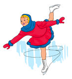 Girl figure skating. Illustration of a female figure skater Stock Image