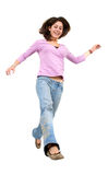 Gilr jumping of joy Stock Photos