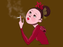 Gilr Rauchen stock abbildung