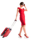 Gilr with suitcase Royalty Free Stock Photo