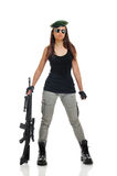 Gilrl soldier. Young beauty girl with machine-gun on white background stock photo