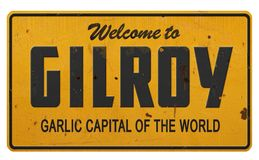 Gilroy加利福尼亚大蒜资本路标 库存图片