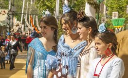 Gilrs in Féria de Abril in Sevilla stock image