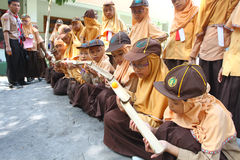 Gilrs scouts. The Girl Scouts are doing exercises cooperation in Solo, Central Java, Indonesia Stock Image