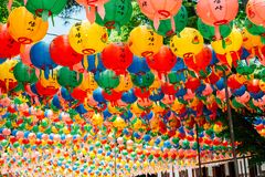 Gilsangsa temple with Buddha`s Birthday colorful lanterns in Seoul, Korea