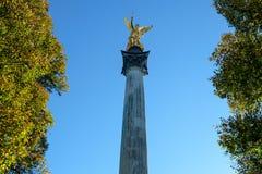 Gilt angel of peace on a column munich. Landmark stock photo