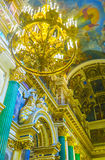 The gilt chandelier in St Isaac's Cathedral Royalty Free Stock Images