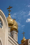 The gilt dome of an Orthodox church Dmitri Rostovsky in Rostov -. On-Don , Russia . The bright blue sky of May Royalty Free Stock Photos