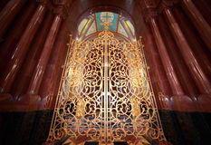 Gilt door inside Cathedral of Christ the Saviour. Patterned gilt door inside Cathedral of Christ the Saviour in Moscow, Russia royalty free stock photos