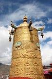 Gilt Giant Prayer Wheel. At Jokhang Monastery in Lhasa, Tibet Royalty Free Stock Photo