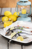 Gilt-head bream fishes in wicker basket. On wooden table Stock Image