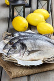 Gilt-head bream fishes in wicker basket. On wooden table. Lanterns and juicy lemons in the background Stock Photos