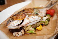 Gilt-head bream roasted in paper with vegetables. Gilt-head bream roasted with vegetables and lemon in paper, close-up Stock Photography