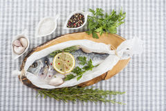 Gilt-head sea bream prepared to be cooked. Raw gilt-head sea bream with herbs and spices in a bakery release paper prepared to be cooked stock photos